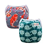 ALVABABY Swim Diapers 2pcs Pack One Size Reuseable & Adjustable 0-24 mo. 10-40lbs Baby Shower Gifts SW18-25