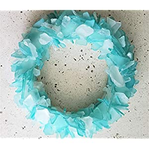 "Beach Decor Sea Glass Wreath - Nautical Beach Glass Wreath - Sea Glass Art in ANY GORGEOUS COLOR - 12"" 79"