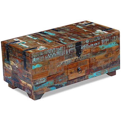 3 Drawer Coffee Table (Festnight Reclaimed Wood Square Coffee Table with 3 Storage Compartments and 1 Drawer, 31.5