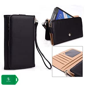 Huawei G610s WALLET WITH PHONE POCKET-REMOVABLE WRISTLET STRAP INCLUDED - BLACK - UNIVERSAL