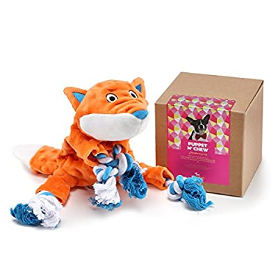 Plush Dog Toy Fox Pattern Rope Toy with 2 Squeakers