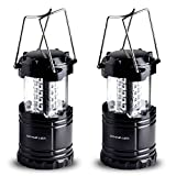 Divine LEDs Bright 2 Pack Portable Outdoor LED Camping Lantern, Black, Collapsbile