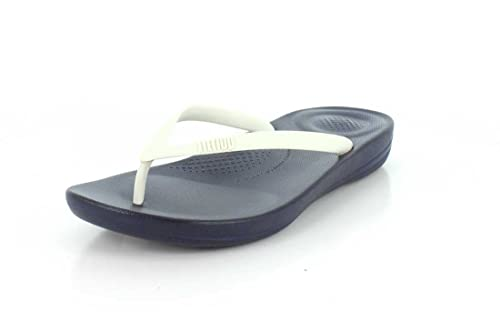769525b70c73f0 FitFlop Women s Iqushion Ergonomic Flip-Flop Midnight Navy White 5 ...