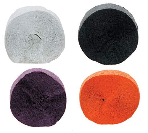 (324 Feet Crepe Paper Streamer (Pack of 4 - Orange, White, Black & Purple) Halloween Party)