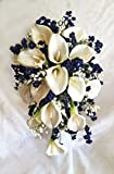 Navy Blue & White Cascade Bridal Bouquet Calla Lilies Silk Wedding Flowers
