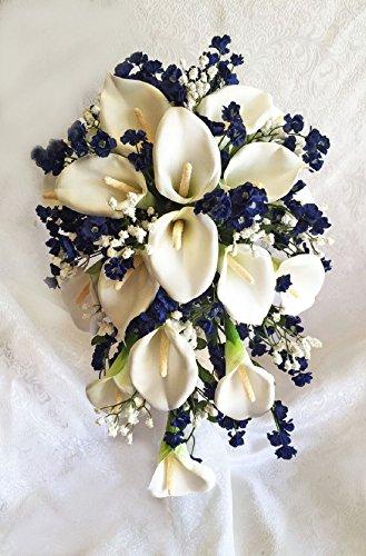 Navy Blue & White Cascade Bridal Bouquet Calla Lilies Silk Wedding Flowers by Dorigan Artificial Art Flowers