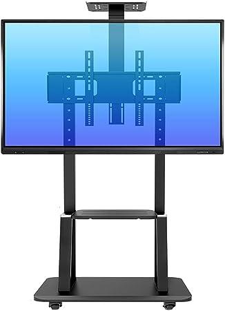 ZAQI Soporte TV Trole Soporte rodante para TV con 2 estantes, Carro de TV Universal Giratorio