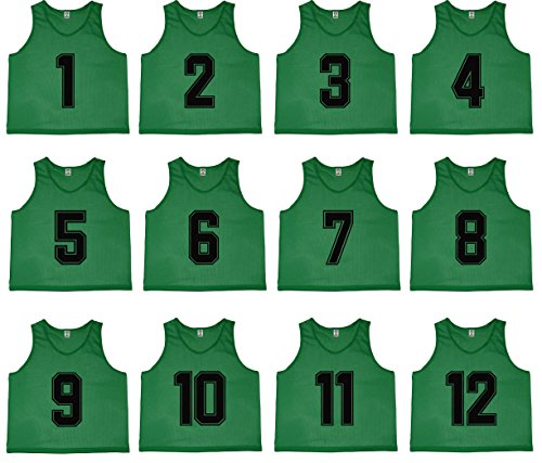 Oso Athletics Set of 12 Premium Polyester Mesh Numbered Jerseys Scrimmage Vests Pinnies with Carrying Bag for Youth and Adult Team Sports Soccer, Basketball, Baseball (Green (#1-12), - Polyester Adult Jersey