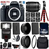 Canon EOS 77D DSLR Camera with 18-135mm is USM Lens + Flash + UV FLD CPL Filter Kit + Wide Angle & Telephoto Lens + Camera Case + Tripod + Card Reader – International Version For Sale