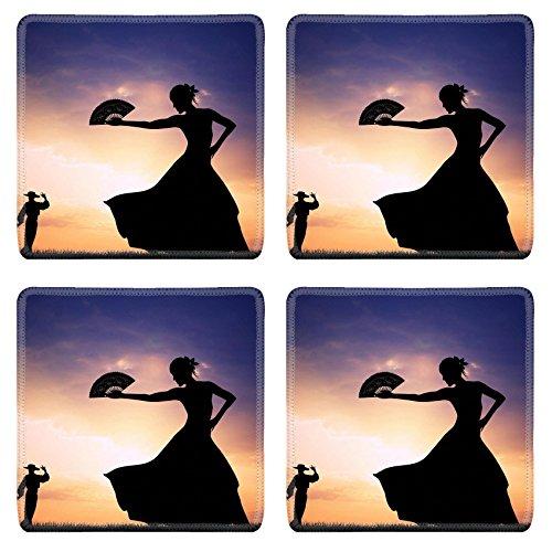 [Luxlady Natural Rubber Square Coasters IMAGE ID 21164112 Flamenco silhouette at sunset] (Female Flamenco Dancer Costumes)