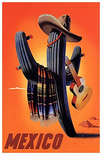 Mexico Poster, Cactus, Playing Guitar, Vintage Travel Poster