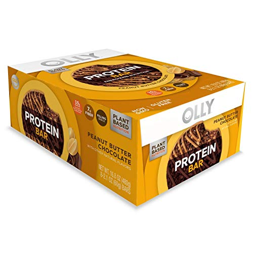 OLLY Protein Bar, 15g Plant Protein, Peanut Butter Chocolate, 2.1 oz Bars, Pack of 8