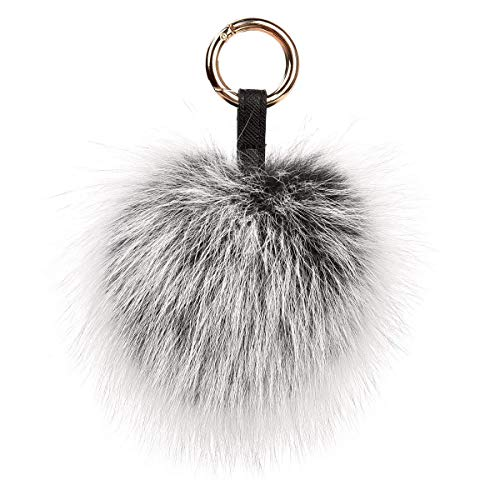Roniky Newest Large Genuine Fox Fur Pom Pom Keychain Bag Purse Charm Gold Ring Fluffy Fur Ball (5.9/15cm, frost)