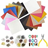 "10pcs Metallic Faux Leather Sheets + 10pcs Double Sided Litchi Synthetic Leather Fabric Sheets(6""x 6"") with 140pcs Earring Hooks, 140pcs Jump Rings, Pliers and Cut Molds for Earring Making Crafts: more info"