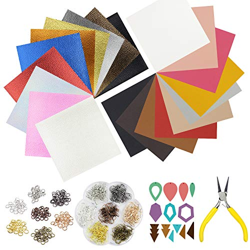 (10pcs Metallic Faux Leather Sheets + 10pcs Double Sided Litchi Synthetic Leather Fabric Sheets(6