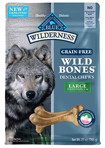 Blue Buffalo Wilderness Wild Bones Grain Free Dental Chews Dog Treats, Large 27-oz bag