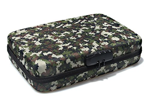 SHBC 4 FOAMS Free choice Pistol Case with Password lockable- Fits Full Size Handgun & Revolvers Waterproof green camouflage bag with handle Fits most Glock, Smith and Wesson (S&W), Ruger, Colt,etc.