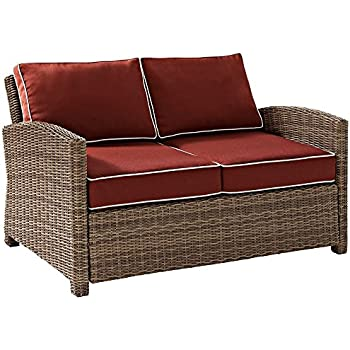 Charming This Item Crosley Furniture Bradenton Outdoor Wicker Loveseat With Cushions    Sangria
