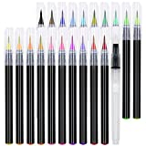 21 Watercolor Brush Pens - Soft Watercolor Markers with Flexible Brush Tips - Multiple Colors - Set of 21