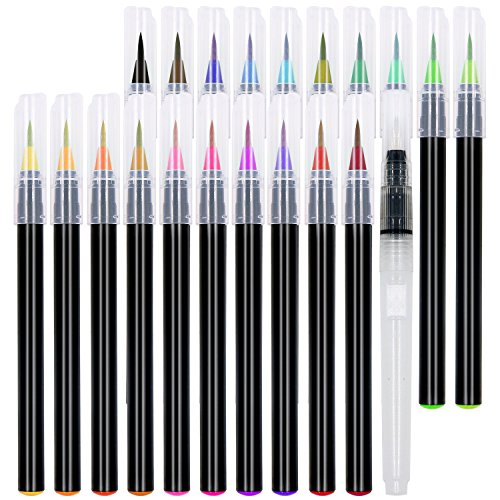 21 Watercolor Brush Pens - Soft Watercolor Markers with Flexible Brush Tips - Multiple Colors - Set of 21 -