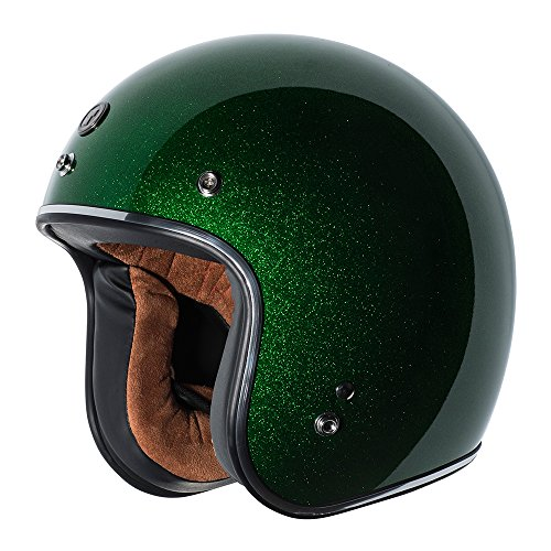 (TORC Unisex-Adult Open-face Style (T50 Route 66) 3/4 Motorcycle Helmet with Solid Color (Limecycle Green Mega) (Lime Cycle, Medium))
