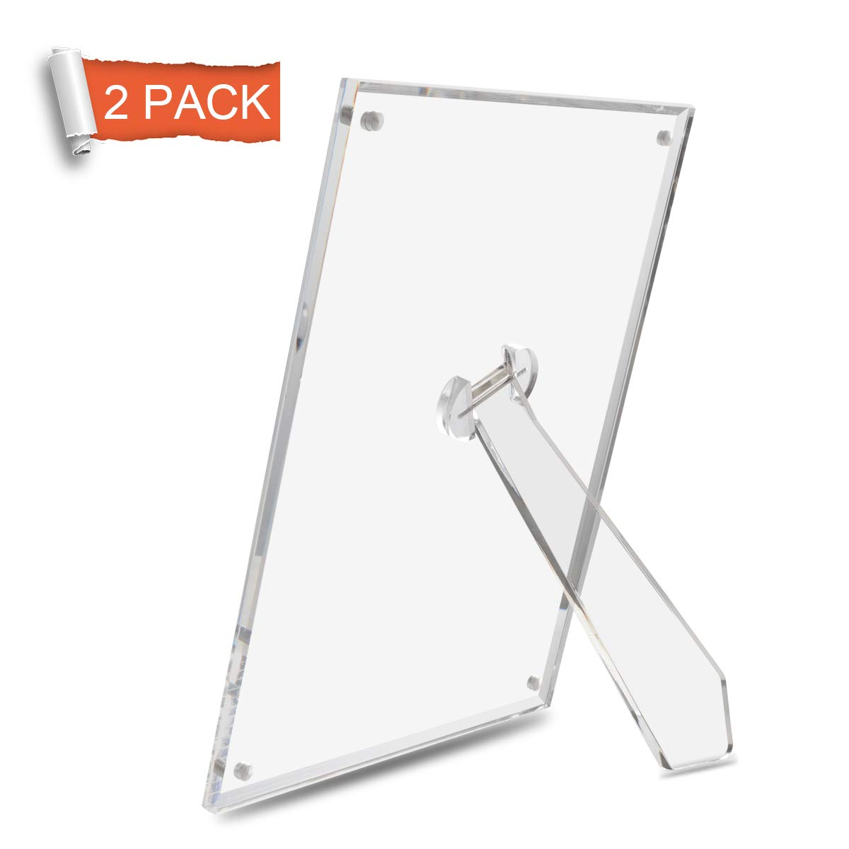 NIUBEE 4x6 Picture Frame, Acrylic Clear Photo Frame with Magnets for Tabletop Display, 2 Pack
