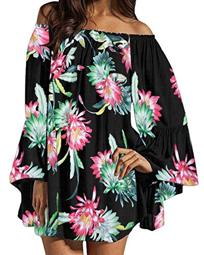 ZANZEA Women's Sexy Off Shoulder Floral Print Chiffon Ruffle Sleeve Blouse Mini Dress Black XXX-Large (fits Like US 18)