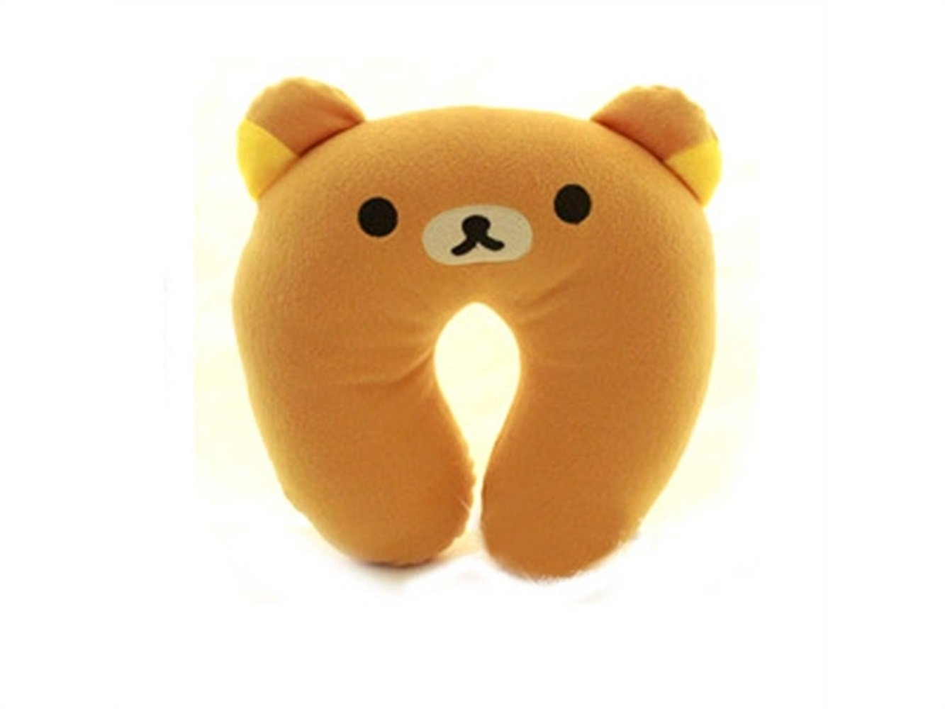 Yuchoi Perfectly Shaped Cartoon Animal U-shaped Neck Pillow Travel Car Airplane Seat Neck Rest for Home Office(Bear)