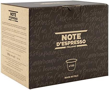 """Note D'Espresso - Cápsulas de café """"Qualità Oro"""" exclusivamente compatibles con cafeteras Nespresso*, 5,6g (caja de 100 unidades)"""