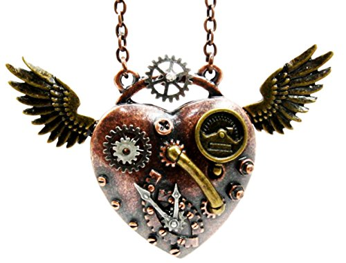 Steampunk Angel Wings Heart Necklace
