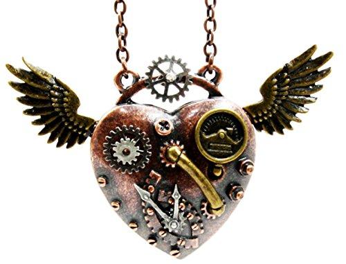 Steampunk Angel Wings Heart Necklace
