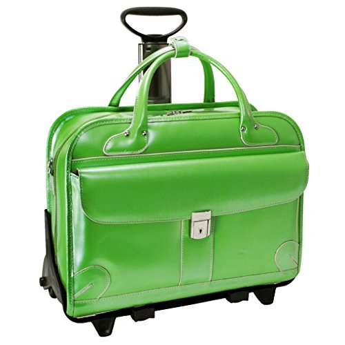 McKlein Lakewood Checkpoint Friendly 15.4'' Rolling Laptop Bag Green by McKleinUSA