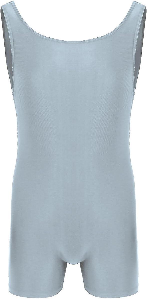 JEATHA Mens Sleeveless Tank Leotard One Piece Slim Fit Vest Bodysuit Stretchy Underwear Sportswear