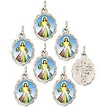 """Lot of 6 - Divine Mercy Silver Tone Small Medal Pendant - 0.50"""" W x 0.75"""" L"""