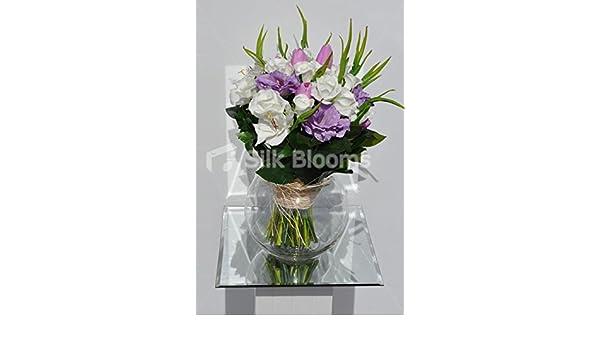 Beautiful seda Lisianthus arreglo Floral con Fresh Touch marfil rosas y rosa tulipanes: Amazon.es: Hogar