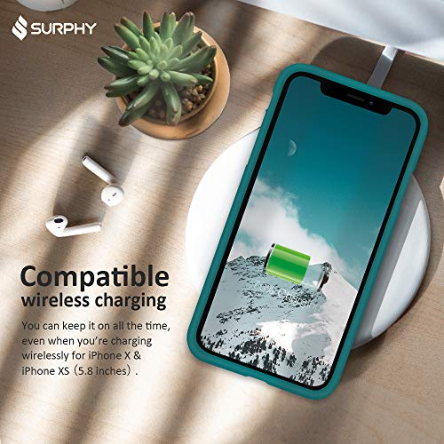 SURPHY Silicone Case Compatible with iPhone Xs Case iPhone X Case 5.8 inches, Liquid Silicone Phone Case (with…