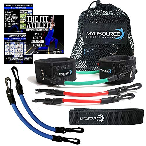 Kinetic Bands Leg Resistance Speed Bands – Speed and Agility Digital Training Videos and Workout Guides (ADV Red-Green-Blue: Advanced Athletes)