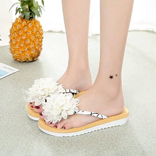 on Ladies Womens Thongs Flowers Walking Comfy Slip Fashion Flops Flip Beach White1 Dress Casual Sandals Flat f1Hqz1