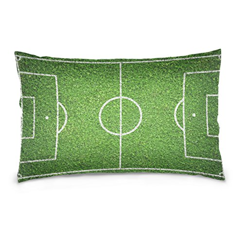 ALAZA Fashion Football Soccer Field Cotton Lint Pillow Case,Double-sided Printing Home Decor Pillowcase Size 16''x24'',for Bedroom Women Girl Boy by ALAZA