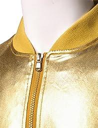 JOGAL Mens Metallic Nightclub Styles Zip Up Varsity Baseball Bomber Jacket Large Gold