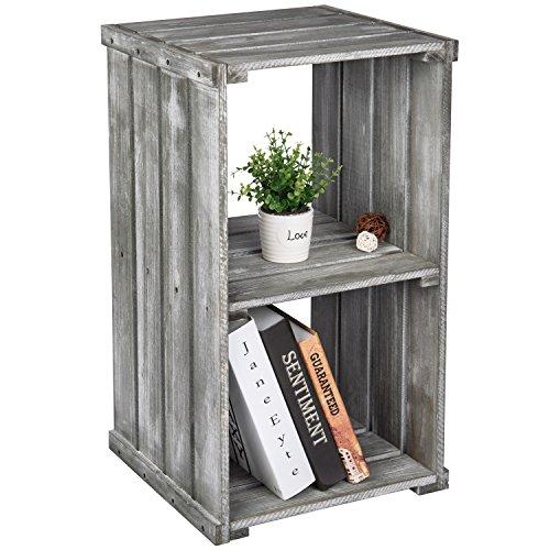 2 Tier Dark Gray Wood Crate Design Storage Shelf Organizer Cubby, Bookcase Shelving Unit (Bedside Table Bookcase)