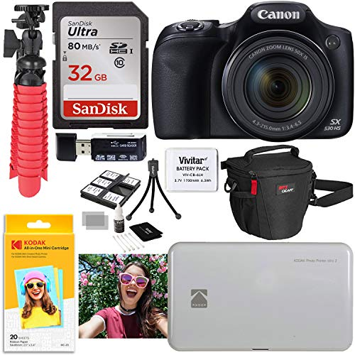 Canon SX530 HS Digital Camera Kit with Kodak Photo Printer Mini 2 and Accessory Bundle