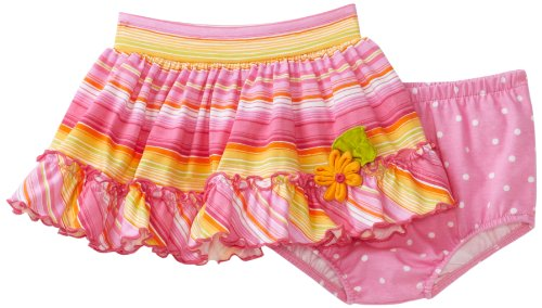 Love U Lots Baby Girls' Stripe Ruffle Skirt with Daisy Trim