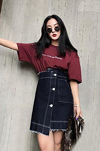 b5bb2bd7f4c Amazon.com : Generic Modern_ suit Women girl summer Korean loose letters  printed cotton short- sleeved shirt + denim skirt _asymmetrical_ fashion :  Beauty