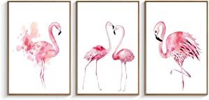 "NWT Framed Canvas Wall Art for Living Room, Bedroom Pink Flamingo Canvas Prints for Home Decoration Ready to Hanging - 16""x24""x3 Panels"