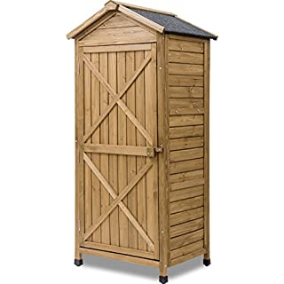 Leisure Zone Outdoor Wooden Storage Sheds Fir Wood Lockers with Workstation(Design #2)