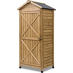 Leisure Zone Outdoor Wooden Garden Shed Lockers Fir Wood with Workstation (Design #2)