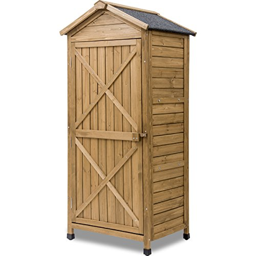 LZ LEISURE ZONE Outdoor Wooden Storage Sheds Fir Wood Lockers with Workstation (Wood)