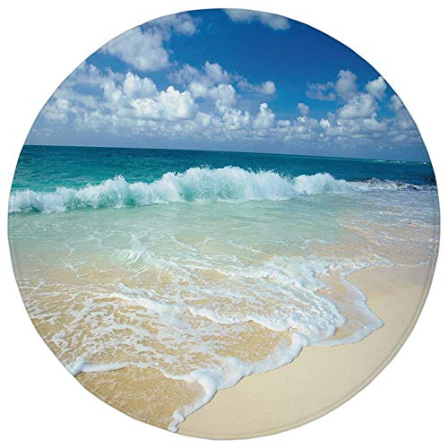 Round Rug Mat Carpet,Wave,Beach with Foamy Waves on Empty Sea Shore Holiday Theme Serene Coastal Decorative,Blue White Sand Brown,Flannel Microfiber Non-slip Soft Absorbent,for Kitchen Floor -