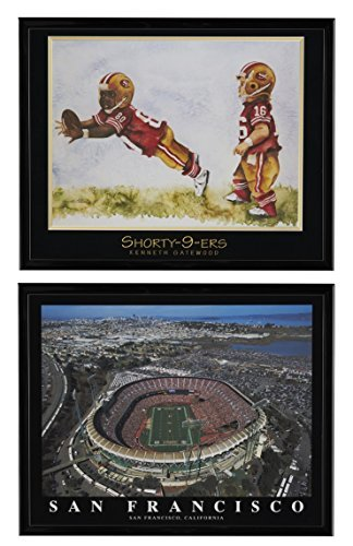 Joe Montana & Jerry Rice Little Legends Framed Lithograph & San Francisco 49'ers Candlestick Park Framed Aerial Print Set of 2 (San Francisco Lithograph)